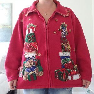 A real vintage ugly Christmas zip up cardigan